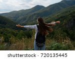 a young girl is traveling in... | Shutterstock . vector #720135445