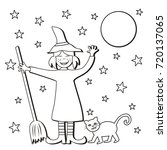 witch and broom and cat ... | Shutterstock .eps vector #720137065