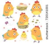 vector cartoon style orange hen ...   Shutterstock .eps vector #720141001