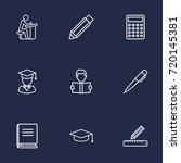 set of 9 studies outline icons... | Shutterstock .eps vector #720145381