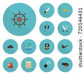 flat icons ship steering wheel  ... | Shutterstock .eps vector #720146431
