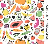 hand drawn seamless pattern... | Shutterstock .eps vector #720148897