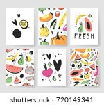 hand drawn set of cards with... | Shutterstock .eps vector #720149341