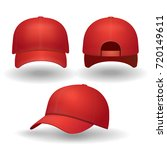 realistic red baseball cap set. ... | Shutterstock .eps vector #720149611