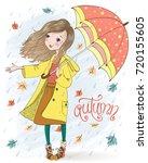 hand drawn beautiful cute girl... | Shutterstock .eps vector #720155605
