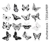 set of butterflies silhouettes... | Shutterstock .eps vector #720164989