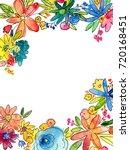 watercolor flower frame... | Shutterstock . vector #720168451