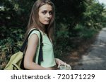 portrait beautiful and sporty... | Shutterstock . vector #720171229