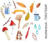 watercolor set of autumn... | Shutterstock . vector #720173269