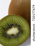Small photo of Kiwifruit, Actinidia deliciosa, fruit of the Actinidiaceae family native to Asia, on white background
