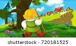 cartoon scene with traveler... | Shutterstock . vector #720181525