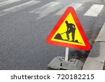 roadwork traffic sign located... | Shutterstock . vector #720182215