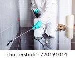 exterminator in workwear... | Shutterstock . vector #720191014