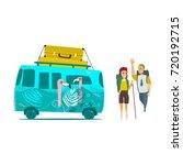 vector flat minivan vehicle... | Shutterstock .eps vector #720192715