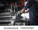 repairing broken semi truck...   Shutterstock . vector #720192967