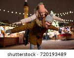 winter holidays and people... | Shutterstock . vector #720193489