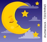 moon character with stars ... | Shutterstock .eps vector #720194965