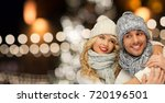 christmas  holidays and people... | Shutterstock . vector #720196501