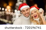 christmas  holidays and people... | Shutterstock . vector #720196741