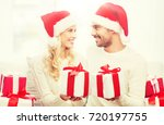 christmas  holidays and people... | Shutterstock . vector #720197755
