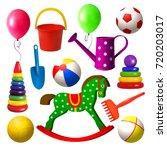 kids toys. set of different... | Shutterstock .eps vector #720203017