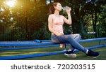 beautiful fitness athlete woman ...   Shutterstock . vector #720203515