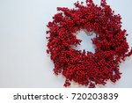 holiday berry wreath on white... | Shutterstock . vector #720203839