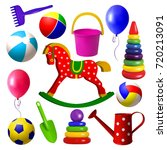 kids toys. set of toys for... | Shutterstock .eps vector #720213091