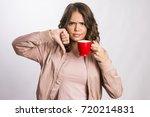 beautiful young girl unhappy...   Shutterstock . vector #720214831