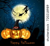 halloween spooky background | Shutterstock .eps vector #720218989