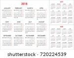 calendar for 2018  2019  2020... | Shutterstock .eps vector #720224539