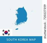 blue south korea map and flag | Shutterstock .eps vector #720227359