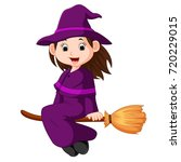 cartoon little witch flying use ...   Shutterstock . vector #720229015