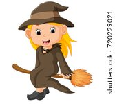cartoon little witch flying use ...   Shutterstock . vector #720229021