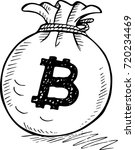 doodle style bitcoin bag... | Shutterstock .eps vector #720234469