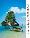 boat on the beach ins krabi ... | Shutterstock . vector #720238645