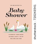 baby shower invitation with swan | Shutterstock .eps vector #720243541