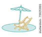 beach umbrella with chair | Shutterstock .eps vector #720252001