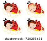 vector cute little girls with... | Shutterstock .eps vector #720255631