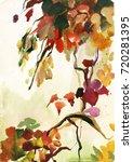 watercolor painting autumn...   Shutterstock . vector #720281395