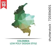 colombia map in low poly | Shutterstock .eps vector #720306001