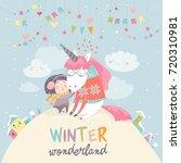 cute girl hugging unicorn....   Shutterstock .eps vector #720310981