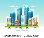 urban landscape with buildings  ... | Shutterstock .eps vector #720325804