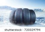 winter tire on ice | Shutterstock . vector #720329794