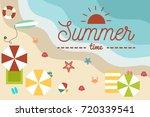 flat summer beach background  | Shutterstock .eps vector #720339541