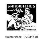 sandwiches and coffee   retro... | Shutterstock .eps vector #72034618