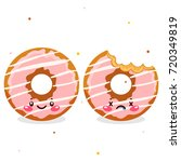 cute donuts  whole and bitten ... | Shutterstock .eps vector #720349819