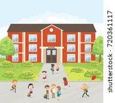 group of elementary school kids ...   Shutterstock .eps vector #720361117