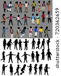 set of silhouettes of isometric ...   Shutterstock . vector #720362659