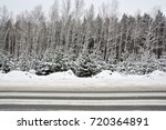 Snowy Winter Road In Pine And...